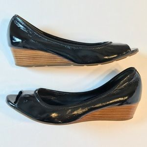 Cole Haan Air Tali Peep-Toe Wedge Patent Leather